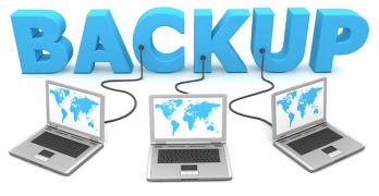 Three laptops connected to large blue text BACKUP