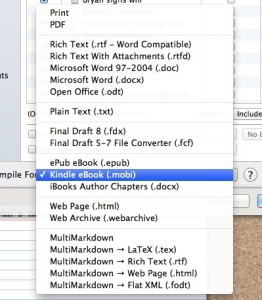 The Scrivener output formats list.