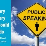 """Title of post with image of road sign against a blue sky that says """"public speaking"""""""