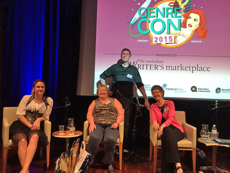 With Viola Carr, Patrick O'Duffy and Anna Campbell on a self-publishing panel at GenreCon 2015.