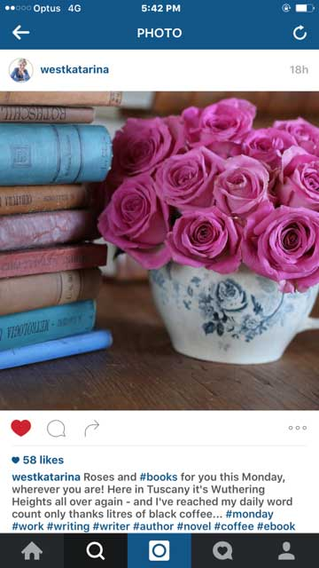 Author Katarina West shares the most unbelievably gorgeous styled images of her books, writing room, etc. But she does have an unfair advantage, living in Tuscany. ;-)