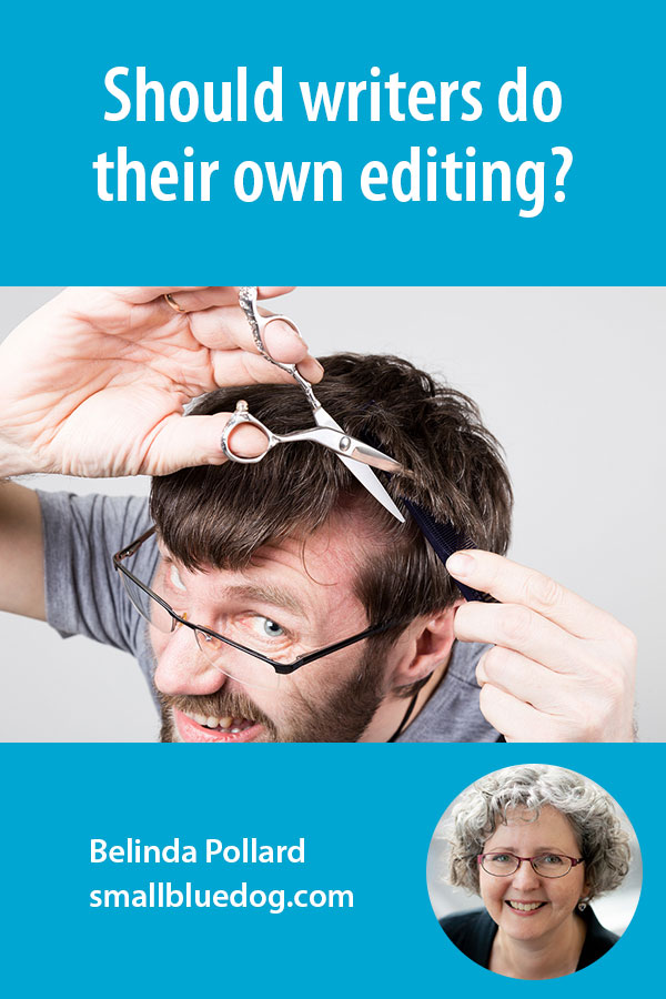 Humorous image of a man trying to cut his own hair.