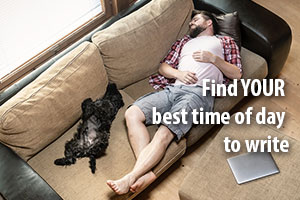 Find your best time of day to write. Man and dog asleep on sofa, laptop beside them.