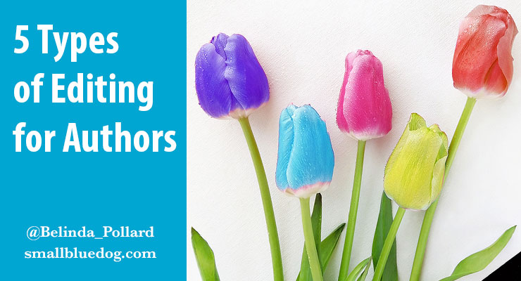 Image showing 5 different colours of tulip with the text: 5 Types of Editing for Authors